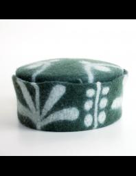 Lauri Chambers: Bottle Green and White Patterned Hat