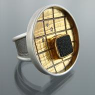 Birgit Kupke-Peyla: Ring with Diamonds and Drusy Agate